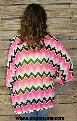 Cover Me Up Chevron Kimono with Pom Pom Trim in Magenta, Black and Neon Yellow