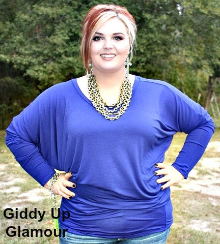 A Spot To Snuggle Royal Blue Slouchy Top