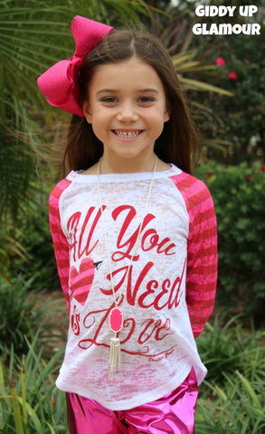 Kids All You Need is Love Valentine's Baseball Burnout with Pink Stripe Sleeves
