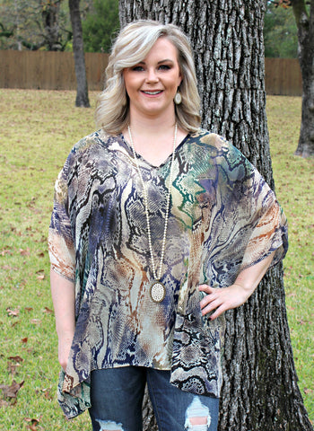 Sure Thing Sheer Multi Color Snakeskin Oversized Poncho Top in Green