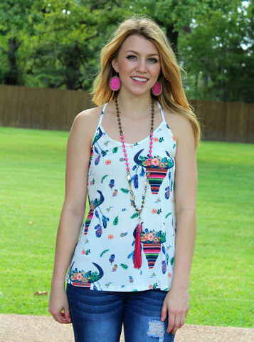 Made for Summer Cow Skull Tank Top in White