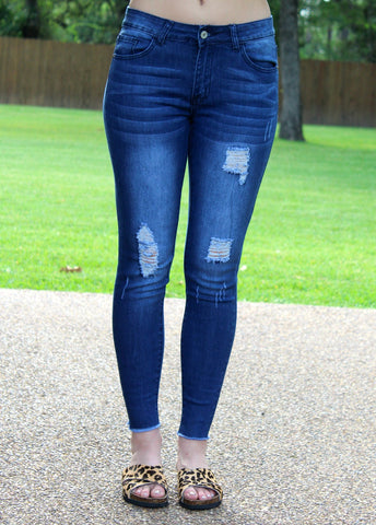 Crazy About You Denim Distressed Skinny Jeans