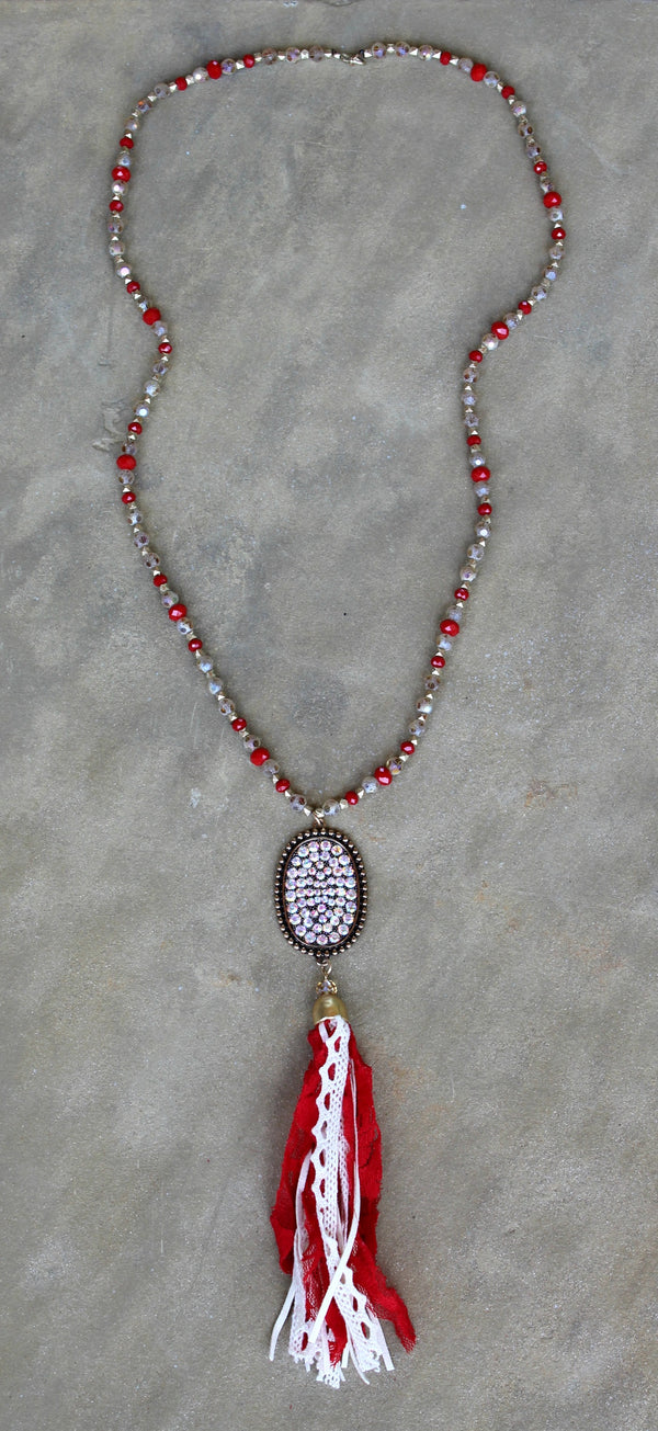 Long Red and Champagne Crystal Necklace with AB Oval and Tassel