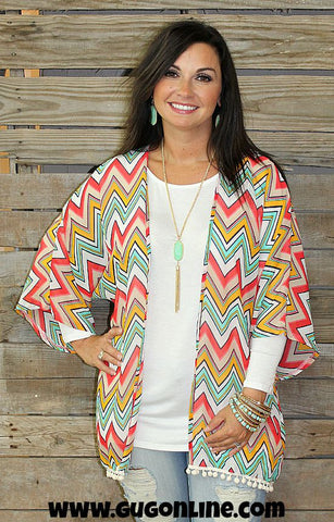 Driftin In The Wind Chevron Kimono with Pom Pom Trim in Coral, Mint and Mustard