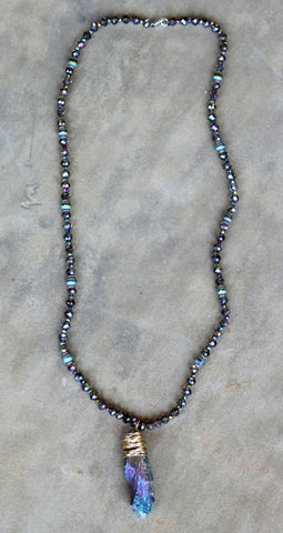 Long Crystal Necklace with Iridescent Stone