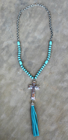 Long Turquoise and Chain Necklace with Silver Metal Cross and Leather Tassel