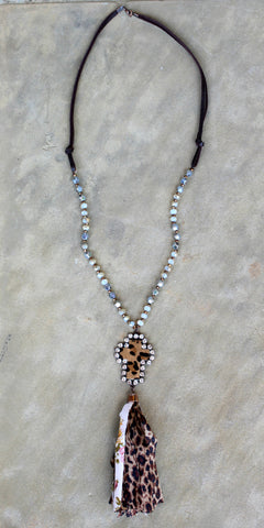 Long Leather and Beaded Crystal Necklace with Leopard and Floral Print Tassel