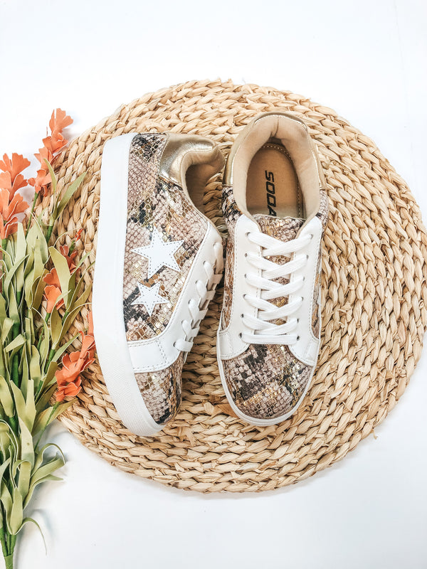 Playful Attention Snakeskin Lace Up Sneakers with White Stars in Gold