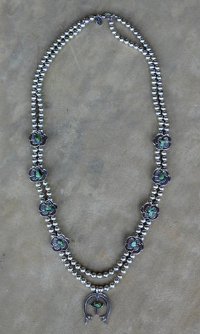 Silver Squash Blossom Necklace with Flower and Turquoise Accents