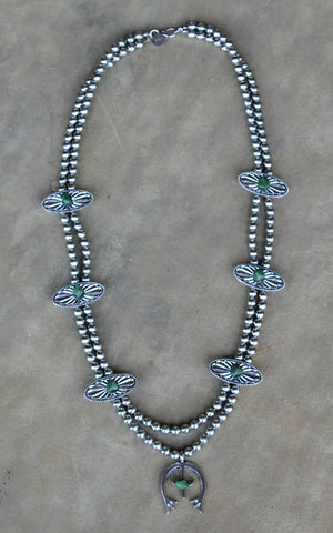 Silver Squash Blossom Necklace with Turquoise Accents