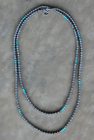 Silver Beaded Necklace with Turquoise Accents