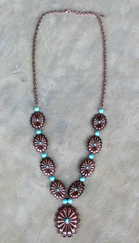 Long Copper Flower Blossom Necklace with Turquoise Beads