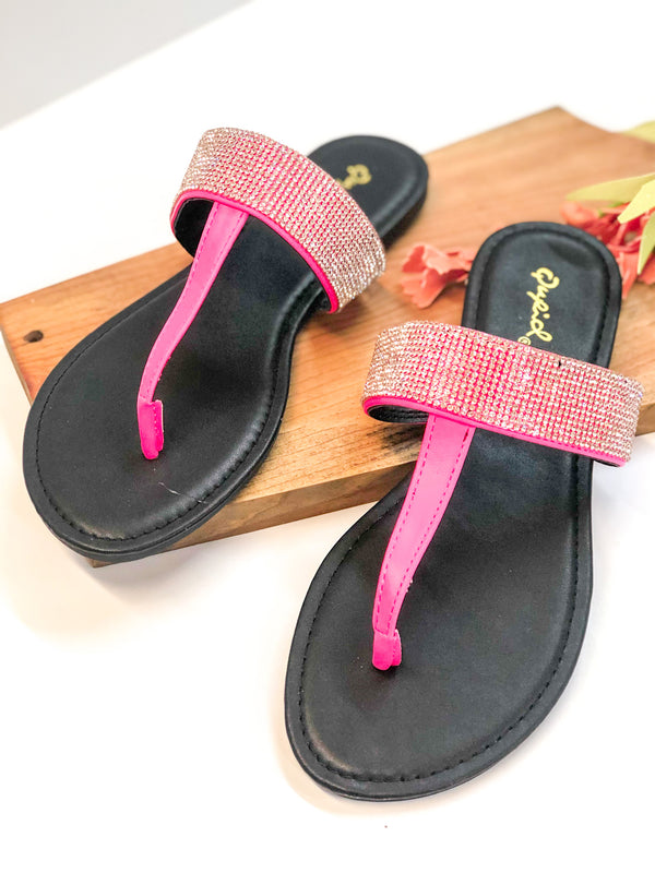 Constant Magic Sandals with Crystal Detailing in Neon Pink