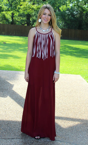 I'm So Fringy Maxi Dress in Maroon & White