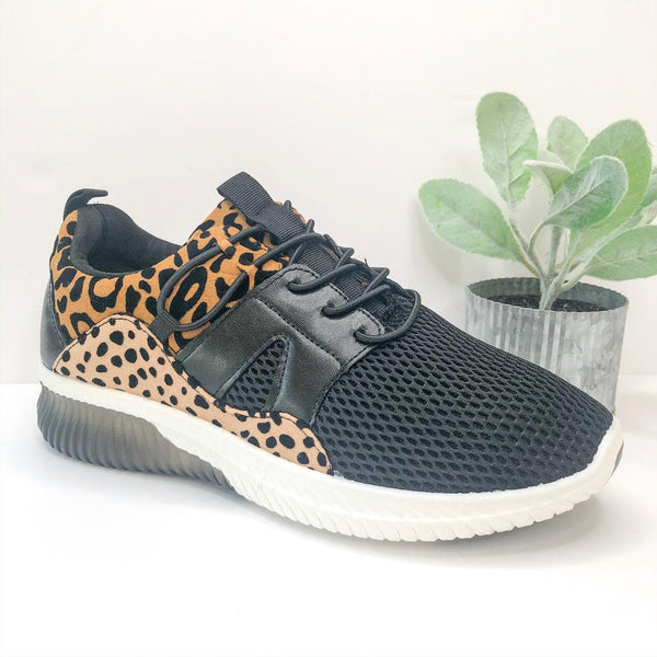 Race You There Lace Up Sneakers in Leopard