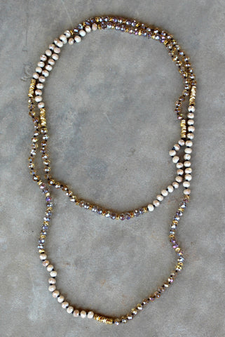 Long Ivory and Topaz Crystal Necklace with Gold Accents