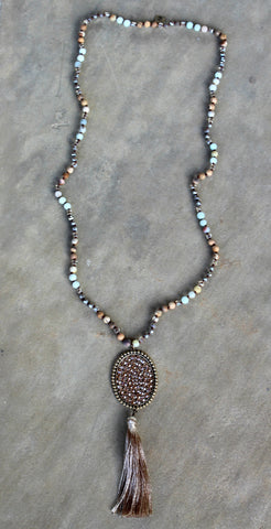 Pink Panache Long Bronze Jasper Tassel Necklace with Large Oval and Light Topaz Crystals