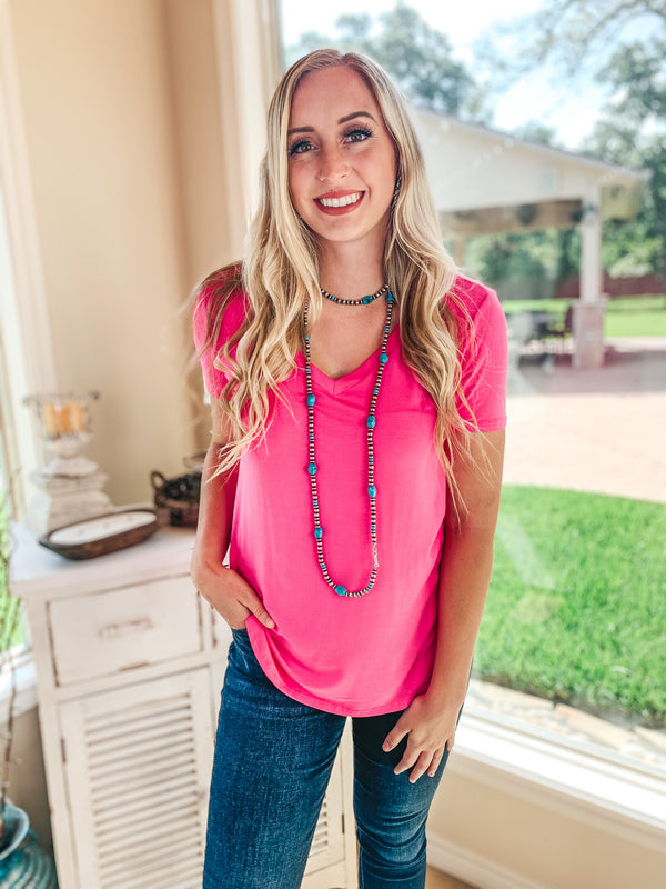 Simply The Best V Neck Short Sleeve Tee Shirt in Hot Pink