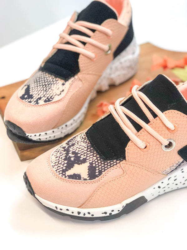Get On Your Level Thick Sole Sneakers in Blush Pink and Snakeskin