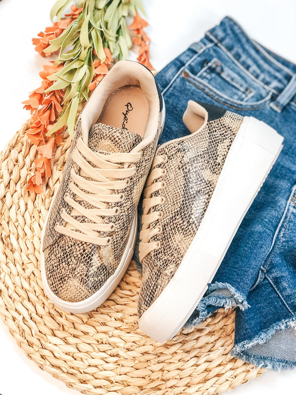 One Step Away Lace Up Platform Sneakers in Beige Snake
