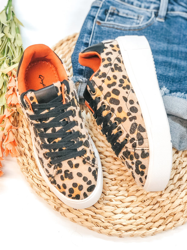 One Step Away Lace Up Platform Sneakers in Leopard