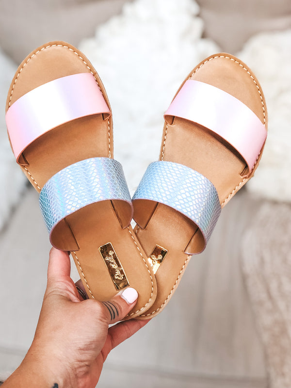Summertime Chic Two Strap Sandals in Mermaid Iridescent