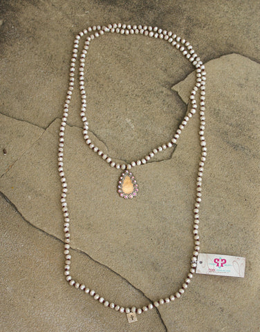 Pink Panache Long Ivory Crystal Necklace with Bronze & AB Teardrop