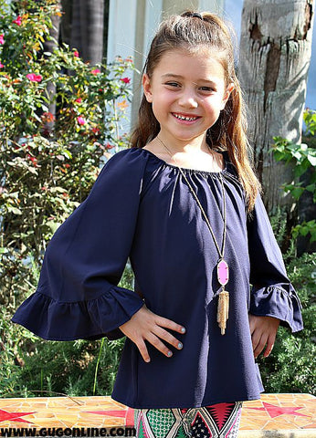 Kid's She's Got Style Ruffle Sleeve Blouse in Navy Blue