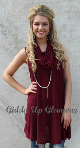 Any Other Time Cowl Neck Tunic in Maroon