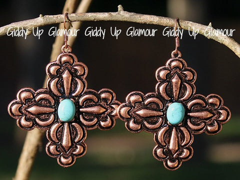 Copper Cross Earrings with Turquoise Stone Center