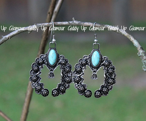 Silver and Turquoise Stone Squash Blossom Earrings