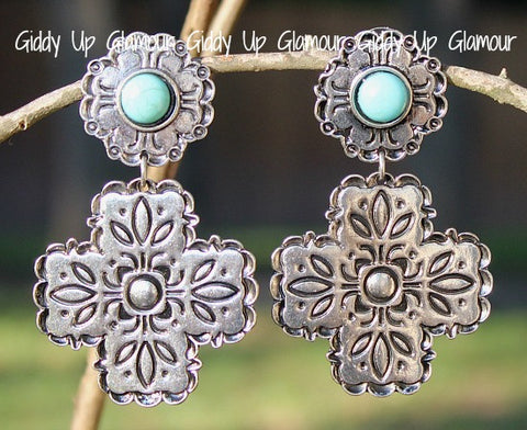 Large Silver Cross Earrings with Turquoise Stone