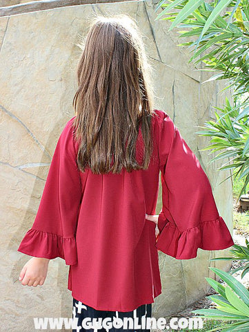 Kid's She's Got Style Ruffle Sleeve Blouse in Maroon