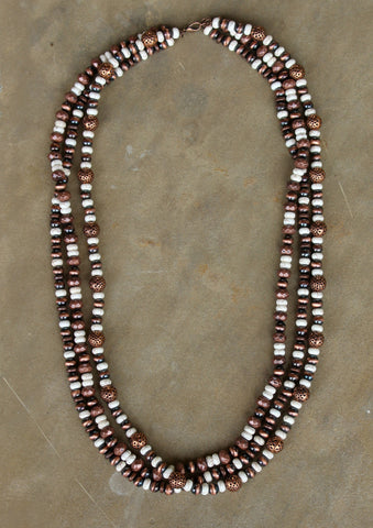 Long Three Strand Copper and White Stone Necklace