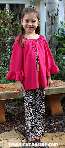 Kid's She's Got Style Ruffle Sleeve Blouse in Hot Pink