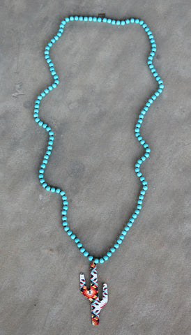 Pink Panache Long Turquoise Necklace with Aztec Cactus in White