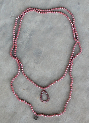 Pink Panache Long Dark Coral Crystal Necklace with Rose Gold Teardrop with Rose Blush Crystals