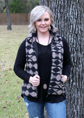 Chilly Nights Aztec Puff Vest in Black
