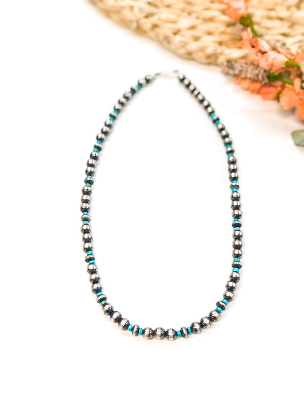 Navajo | Authentic Native American 8 mm Navajo Pearl and Turquoise Necklace | 18 inches