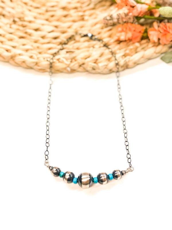 Navajo | Handmade Genuine Sterling Silver Graduated Pearls Necklace with Turquoise Spacers