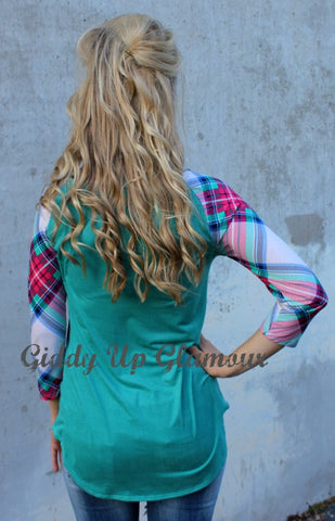 All That She Wants Suede Baseball Tee with Plaid Sleeves and Pocket in Mint