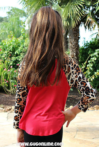 Check You Out Leopard Sleeve Baseball Tee in Red