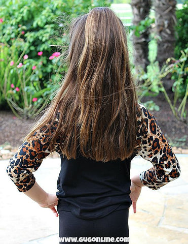 Check You Out Leopard Sleeve Baseball Tee in Black