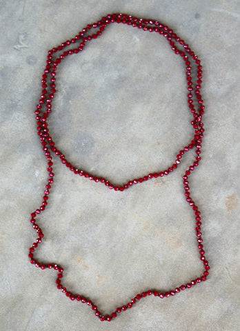 60 Inch Long Layering Crystal Strand Necklace in Maroon