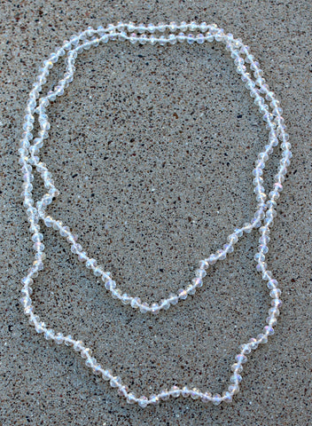 60 Inch Long Layering 8mm Crystal Strand Necklace in Clear AB