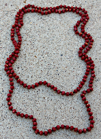 60 Inch Long Layering 8mm Crystal Strand Necklace in Maroon