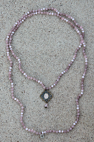 Pink Panache Bronze Mission Window on Rose Blush Necklace with Powder Rose AB Crystals