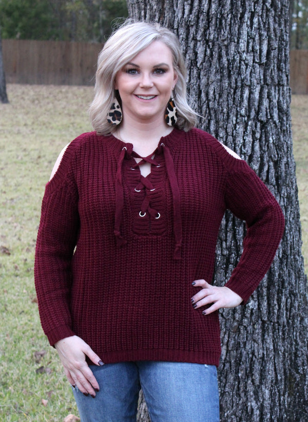 Hometown Girl Lace Up Cold Shoulder Sweater in Maroon
