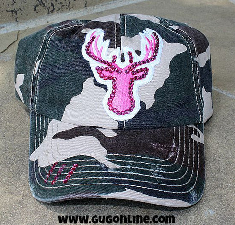 Camoflauge Baseball Cap with Pink Deer and Swarovski Crystals