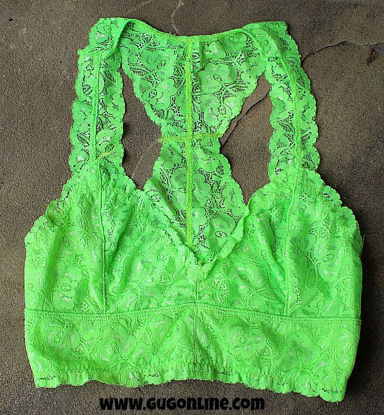 Racerback Lace Bralette In Neon Lime Green  Giddy Up -9813